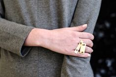 Gold Statement Ring Gold Knuckle Ring Gold Cocktail by TheFORMA
