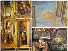 """UFOs in classic art: This painting is by Carlo Crivelli and named """"The Annunciation with Saint Emidius"""" It hangs in the National Gallery of London. A bizarre disk-shaped object can be seen shining a pencil beam of light down onto the crown of Mary's head Ancient Aliens, Aliens And Ufos, Ancient Art, Ancient History, Ancient Astronaut Theory, Renaissance Kunst, Mystery, Galleries In London, Classic Paintings"""
