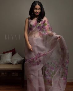 Check out these beautiful soft and elegant sarees for your brunch parties by the brand Keyah Label. Organza Saree, Silk Organza, Cutwork Saree, Embroidery Saree, Silk Sarees, Saree Blouse Patterns, Saree Blouse Designs, Saree Painting, Silk Painting