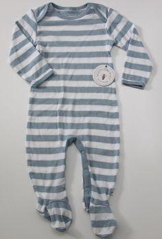 Burt's Bees Baby Boy Footed Sleeper ~Blue & White Stripes ~ Organic Cotton ~ #BurtsBeesBaby #OnePiece
