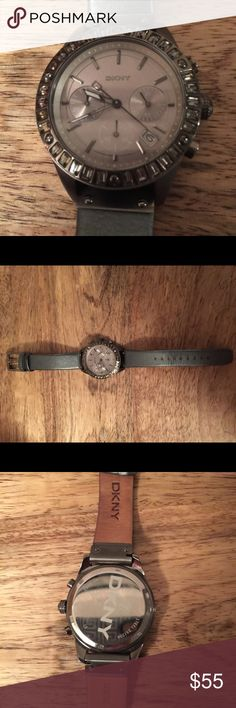 DKNY women's leather strap watch Women's DKNY leather strap watch in gunmetal. DKNY Jewelry