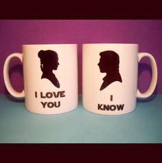 """""""I love you."""" """"I know."""" // Han & Leia Star Wars coffee mugs."""