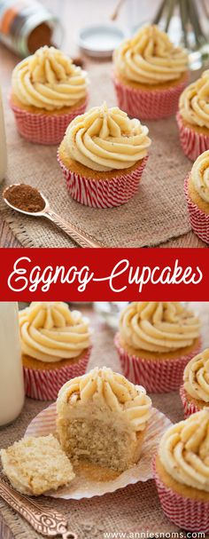 Light and fluffy Eggnog laced cupcakes with a creamy, velvety smooth Eggnog frosting make these Christmas in cupcake form!