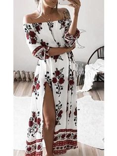 Women Slash Neck Boho Maxi Dress Shoulder Off Floral Print Summer Beach Sundress
