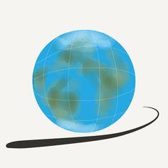 iTranslate #alttext re interpretación del logotipo de esta app. El planeta tierra con una serie de líneas dibujadas en su superficie representando meridianos y paralelos