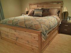 My Anniversary present from Allen. Handmade bed from pallets. Handmade Bed, Decor, Pallet Projects Bedroom, Wooden Bed, Bed, Wooden Pallet Projects, Home Decor, New Beds, Room Design