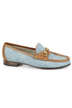 Gucci Frame Denim & Leather Horsebit Moccasin Loafers, $570; saksfifthavenue.com   - ELLE.com