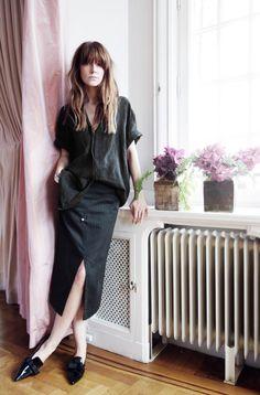All black, loafers, slit skirt, loose blouse