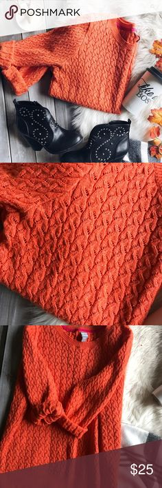 Orange Cable-knit Sweater XL orange cable knit sweater by JCP. Perfect for fall. Bright colors. No damage. Could be worn as oversized jcpenney Sweaters