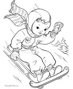 Printable Christmas scene coloring pages Santa Coloring Pages, House Colouring Pages, Adult Coloring Pages, Coloring Books, Christmas Coloring Sheets, Winter Quilts, Christmas Colors, Christmas Design, Christmas Embroidery