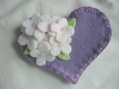 Felt Flower Brooch Heart with Beaded Flowers Valentines Day Purple