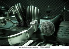 microphone,headphone piano background. #379699972