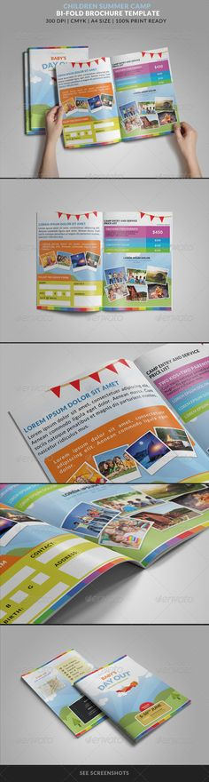 Summer Camp Kids Bi-Fold Brochure #graphicriver