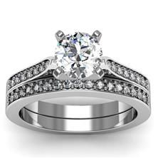 Petite Pavé Diamond Setting with band set in 18k White Gold