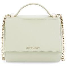Givenchy 'Mini Pandora Box - Palma' Leather Shoulder Bag (12.670 VEF) ❤ liked on Polyvore featuring bags, handbags, shoulder bags, aqua green, leather handbags, white shoulder bag, white leather purse, green leather handbag and leather shopper
