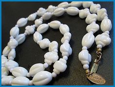 Vintage Necklace Signed MIRIAM HASKELL Chunky White Molded Glass Beads 30 EX via Etsy