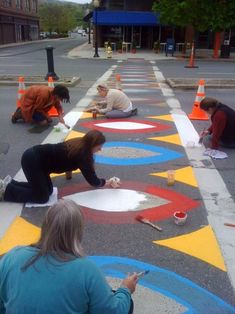 This morning some of us from MASS MoCA helped Art About Town re-paint the North Adams crosswalks. We heart community art! Group Art Projects, Collaborative Art Projects, Art Public, School Murals, Interactive Art, High School Art, Outdoor Art, Art Classroom, Art Club