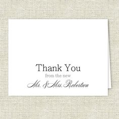 Thank You Wedding Note Cards - Set of 10 - Personalized Stationery