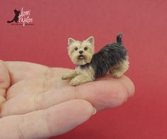 Dollhouse Miniature play-bow Yorkie ~ freehand sculpture base of polyclay, wire, Genesis oils and an applied coat of alpaca & silk fibers. Height: 7/8 inches