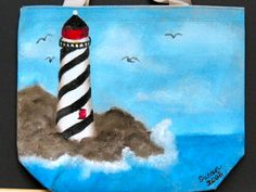 Lighthouse painted on a tote bag.  One Stroke Painting by Susan Earl.