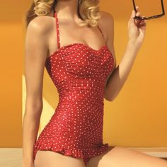 Retro Swimsuit - Red & White Polka Dots
