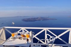 Aeolos hotel in Santorini, Greece. This was the view from our honeymoon suite where they brought us breakfast on our balcony every morning. Beautiful view of the caldera