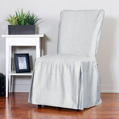 Ticking Stripe Relaxed Fit Long Box Pleat Parsons Chair Slipcover - Overstock Shopping - Big Discounts on Chair Slipcovers