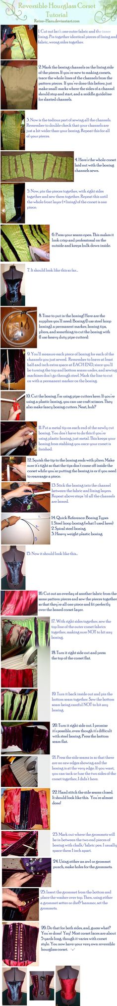 corset tutorial Reversible Corset Tutorial by ~Reine-Haru on deviantART While corsets were not common fashion in early Tudor period, a few pieces have been documented in that period. If you want a nice one thats reversible, this is a good tutorial Corset Tutorial, Cosplay Tutorial, Cosplay Diy, Diy Clothing, Sewing Clothes, Clothing Patterns, Sewing Patterns, Lingerie Patterns, Techniques Couture