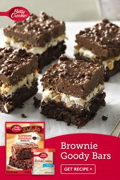 Everything that's irresistible about a brownie and a candy bar just got rolled into one recipe—With Betty Crocker™ Supreme Original Brownie Mix on the bottom, frosting and peanuts in the middle and…More Dessert Cake Recipes, Brownie Recipes, Dessert Bars, Just Desserts, Cookie Recipes, Delicious Desserts, Brownie Desserts, Thanksgiving Desserts, Holiday Baking