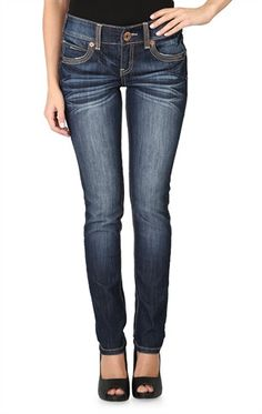 Ariya Curvy Skinny Jean in Dark Wash with Crinkles and Copper Accents