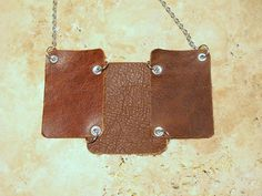 Brown Leather Bib Necklace by BumbleberryJewelry on Etsy, $25.00  #leatherjewelry