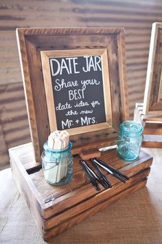 """Date Jar:"" Have guests write their ideas for date night on tongue depressor sticks or paper and put in mason jar for you to read later. 