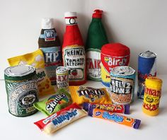 Holly Levell is a textile artist from the UK who specialises in soft sculpture. Her Supermarket Stitch project created soft versions of brands like Marmite, Red Bull, Skittles and more! Food Sculpture, Art Sculptures, A Level Art, Felt Food, Everyday Objects, Everyday Items, Textile Artists, Felt Art, Craft Fairs