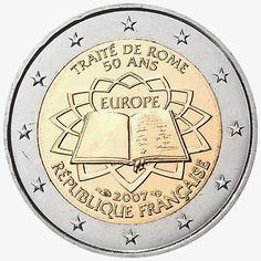 2 euro coins France 2007, 50th anniversary of the Treaty of Rome|2 Euro Commemorative Coins