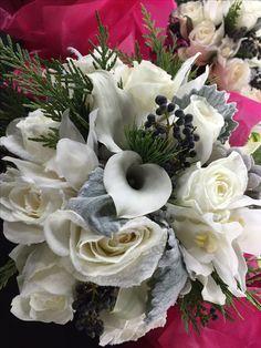 Winter Wedding | Bridal Bouquet | Dusty Miller | White Roses | Orchids | Winter Greens | Boston Wedding | Wedding Flowers | Stapleton Floral Design
