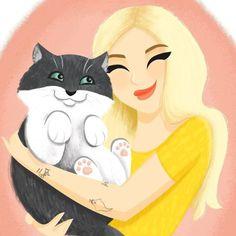 LOVING this adorable pet/owner portrait commission that I...