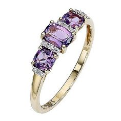 Gold Three Stone Amethyst and Diamond Set Ring - Product number 8457476 Purple Jewelry, Amethyst Jewelry, Amethyst Rings, Gold Rings Online, Yellow Gold Rings, Purple Rings, Diamond Are A Girls Best Friend, Unique Rings, Jewelery