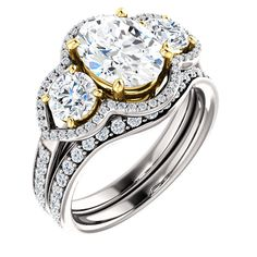Gold/ 2.0 Ct Diamond Engagement Gold 9x7mm Oval Ring 14k White Gold/14 –…