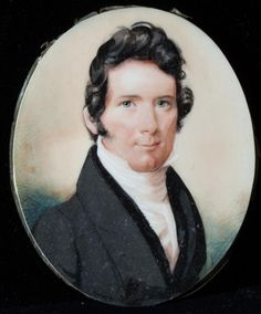 "THOMAS BOYLE CAMPBELL (1796-1858), WINCHESTER, SHENANDOAH VALLEY, miniature portrait (c. 1818 - 1823) of Thomas Boyle Campbell depicting a confident young man at the beginning of what would become a long & prosperous career, watercolor on ivory in original rolled gold frame, verso with hair reserve & cut gold initials ""TBC"", inscribed ""1823"" & ""Born March 10, 1796"" below the reserve"