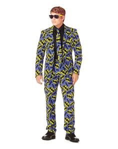 Batman Logo Suit Mens Costume exclusively at Spirit Halloween - Bruce Wayne would proudly sport the Officially Licensed Batman Logo Suit Men's Costume, so you should too! This 3 piece suit includes Batman logo print tie, pants and jacket. Get this superhero suit for $99.99