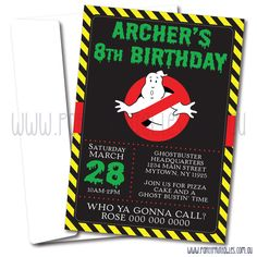 Ghostbusters Invitation Ghostbusters Birthday Ghostbusters Party