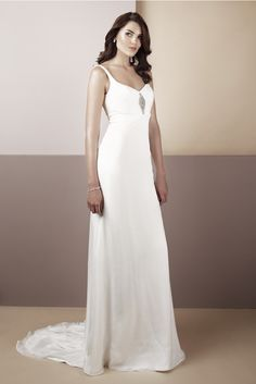 Catherine, silk chiffon over silk satin, low back gown with diamonte trim