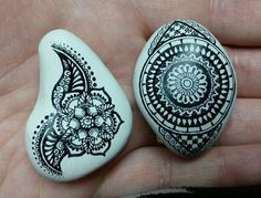 ••• Alaska Art Stones ••• painted white with doodles and henna designs drawn on with Prismacolor Art Pens - I am loooooving this craft!
