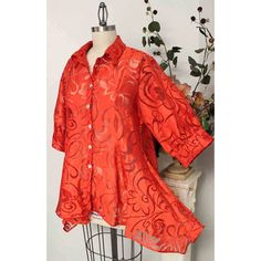 Romantic and Exotic Orange Color Plus Size and Regular Size Designer... ($51) ❤ liked on Polyvore featuring tops, blouses, 3/4 sleeve shirts, women's plus size blouses, plus size womens shirts, red shirt and plus size blouses