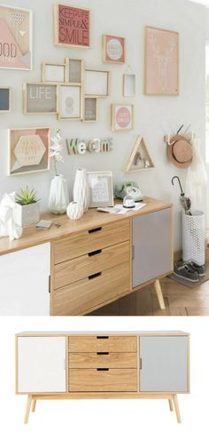 5 Practical Entry Ideas & Copy Trend (+ Checklist) - New Deko Sites Decoration Buffet, Deco Buffet, Interior Design Living Room, Living Room Decor, Bedroom Decor, Upcycled Furniture, Diy Furniture, Small Room Bedroom, Bars For Home