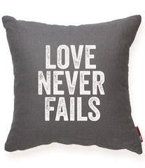 Love Never Fails Gray Throw Pillow