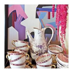 """""""Yes, that's it! Said the Hatter with a sigh. It's always tea time"""" (Alice's adventures in wonderland). And yes, I see a little Tim Burton's inspiration for the photoshoot 🐰. Tea set from @kellywearstler, #art #colorcrush #teaset #tea #finechina #decor #instadecor #design #instadesign #instacool #designcrush #decoração #interiors #interiordesign #homestyle"""