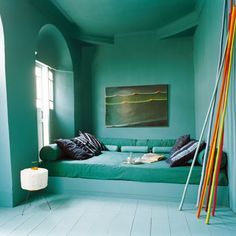 Love the colour of this room. The Bed Room - more den like, maybe lower ceilings; built-in nooks for books etc. Literally nothing else in there, just the bed Color Inspiration, Interior Inspiration, Interior Ideas, Turquoise Room, Green Rooms, Aqua Rooms, Deco Design, My New Room, Interiores Design
