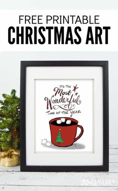 It's the Most Wonderful Time of the Year! This free printable Christmas art is a great way to decorate your home for the holiday season. With the festive design of this print, you can frame it for your own wall art or give to a teacher or friend as a Christmas gift.