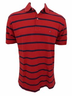 Tommy Hilfiger Polo Shirt Mens Size L Red Striped #TommyHilfiger #PoloRugby